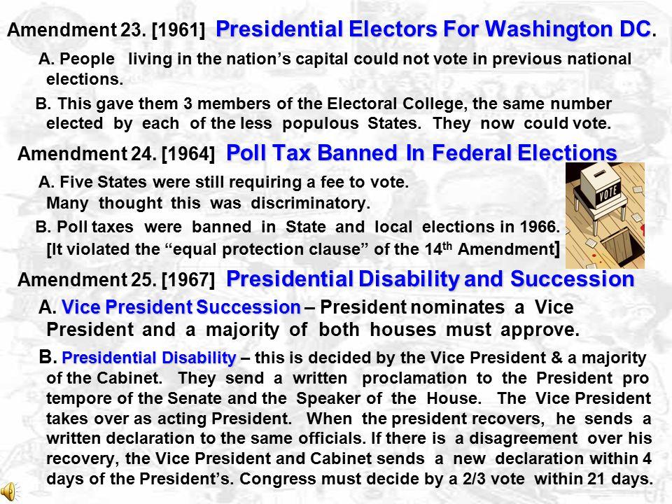 Amendment 23. [1961] Presidential Electors For Washington DC.